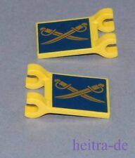 LEGO Lone Ranger - 2 x Fahne, gelb, 2x2, gekreuzte Säbel / 2335pb107 NEUWARE (a9
