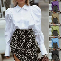 Size Women Collar Victorian Blouse Tops Ladies Puff Sleeve Party OL Gothic Shirt