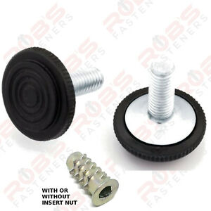 ADJUSTABLE FURNITURE FEET M6 M8 SCREWS LEVELING FOOT WITH OR WITHOUT INSERT NUTS