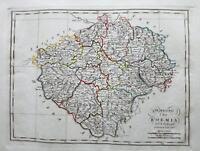 1819 Borghi Mappa Il Regno di Boemia Praha Praga Czech Republic Pilsen