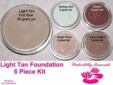6 Pc Lot Light Tan Minerals Bare Makeup Foundation Blush Veil Kit #3 New/Sealed