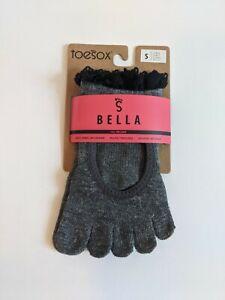 ToeSox Black Grip Full Toe Bella  Lace Women's Size S Dark Grey