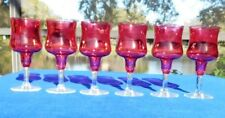 6 Crystal Rose Mist/Cranberry Water/Wine Glasses
