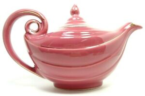 VINTAGE 1950s HALL CHINA  ALADDIN TEAPOT CAMELLIA ROSE 6 CUP NO INFUSER 2 CHIPS