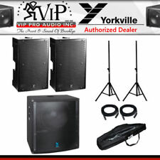 "(2) Yorkville PS15P Powered 15"" 4400W + LS801PB 18"" Subwoofer + Stands & Cables."
