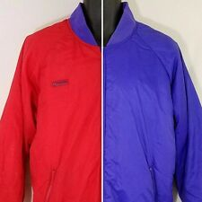 Columbia Reversible Bomber Jacket Vtg 90s Radial Sleeves Red Purple Mens Large