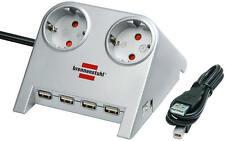 Brennenstuhl Desktop-Power Tischsteckdose 2fach Steckdosenleiste - 5Port USB Hub
