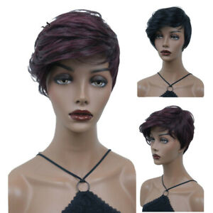 Women Short Curly Lace Wig Wave Short Hair Wig Wine Red Wig+Wig Cap