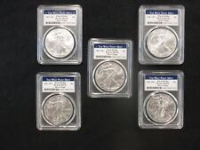 Lot of 5 2017 (W) American Silver Eagles PCGS MS70, First Strike, Struck at West