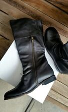 SACHI Black Knee High Leather Boots Size 7.5 Wide Fit