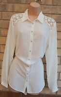 G21 WHITE BUTTONED LACE CROCHET LONG SLEEVE BAGGY FORMAL T SHIRT BLOUSE TOP 12