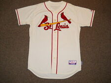 St. Louis Cardinals Blank Ivory Alternate Authentic Jersey sz 48 Majestic Mens