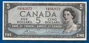 CANADA 1954 paper money prefix S/X FIVE dollar bill note QE II