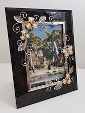 Black Silver Chrome Butterfly Flowers | Classy Picture Photo Frame Glass