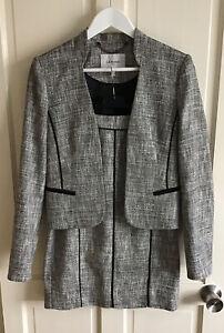 LK Bennett ⭐️Ladies Size 10 Grey & Black Agra Tweed Style Skirt Jacket Suit ⭐️