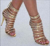 Womens Slim High Heels Golden Hollow Out Sandals Peep Toe Bling Zipper Shoes Sz