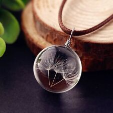 Delicate Crystal Glass Ball Dandelion Necklace Strip Leather Pendant Jewelry