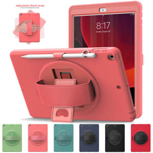 """For iPad 7th 8th Gen 10.2"""" 2020 Hand Strap Rotating Stand Rugged Hard Case Cover"""