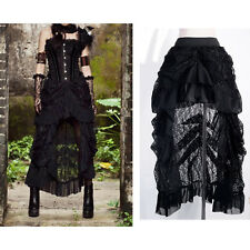 Vintage Women's Gothic Asymmetrical Laced Steampunk Ruffle High-Low Folded Skirt