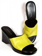 New AEROSOLES Women Green Leather Open Toe Wedge Heel Slide Sandal Shoe Sz 9.5 B
