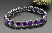 14K White Gold Finish 15.00Ct Cushion Cut Amethyst Women's Tennis Bracelet