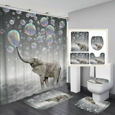 3D Printing Bubbles Elephant Waterproof Bathroom Shower Curtain Toilet