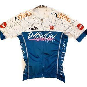 Nimblewear Cycling Shirt,Daswow racing team ,zipper, blue/ white ,back pockets