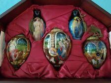 "NeQua     ""Set of 5 Glass Nativity Ornaments""   Displayed Inside Wooden Case"