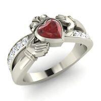 Certified 0.92 Ct Heart Cut Garnet & Diamond Claddagh Ring in Sterling Silver