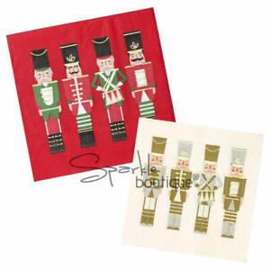 CHRISTMAS NUTCRACKER NAPKINS x 16 - in 2 Festive Designs - Botanical Party Range