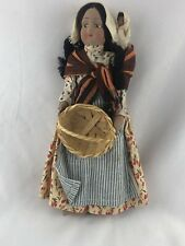 Vintage 1930's Mexican Hispanic Ethnic Costume Hand Painted Face Cloth Doll