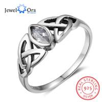 Keltischer Knoten Triquetra 925 Silber Ring Stein Zirkonia grün Keltenschmuck