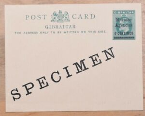 Morocco Agencies 5c Specimen Surcharged Mint Stationery Card