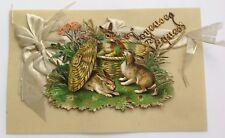 Rare, carte postale ancienne, lapin en relief ruban Joyeuse Pâque plastique