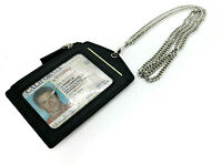 Black Premium Genuine Leather ID Badge Holder Lanyard Metal Chain Zip Wallet