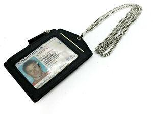 Black Premium Genuine Leather ID Badge Holder Lanyard Metal Chain Zip Wallet