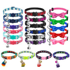 50pcs Bulk Cute Breakaway Cat Collars with Bell Safety Kitty Kitten Necklace