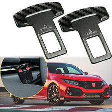 Pair Car Accessories Carbon Fiber Safety Seat Belt Buckle Alarm Stopper Clamp