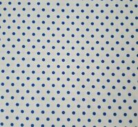 Blue Polka Dots on White BTY VIP 100% Cotton Fabric