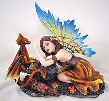Woodland Fairy with small amber Dragon mythical fantasy decor figurine