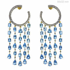 Aquamarine Gemstone Chandelier Earrings Rosecut Diamond 925 Silver Jewelry