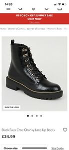 New Look Black Leather Biker Boots Size 5 New Doc Martins