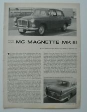 MG Magnette MKIII Road & Track article October 1959 - English