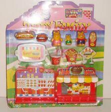 Vintage Teddy Family play set,super burger snack,3 figurines + accéssoires neuf