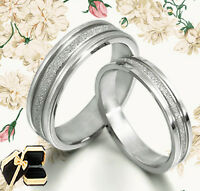 His and Her Matching Wedding Bands Titanium Ring Set 016A3