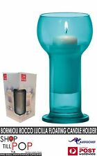 BORMIOLI ROCCO Lucilla Candle holder + Floating in water candle BNIB Blue Glass