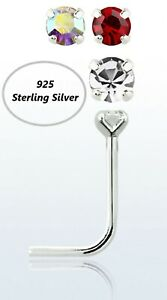 925 Sterling Silver L SHAPE Pin Small Nose Piercing Stud with 1.5mm crystal
