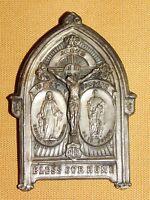 "VINTAGE 2 1/4"" HIGH JESUS MARY JOSEPH BLESS OUR HOME PRAYER METAL FAMILY  PRAYER"