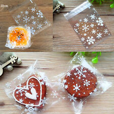 100x Clear Snowflake Xmas Cello Cellophane Party Favour Sweet Biscuit Gift Bags