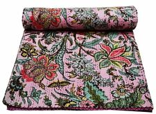 Indian Handmade Quilt Vintage Kantha Bedspread Throw Cotton Blanket Queen Gudari